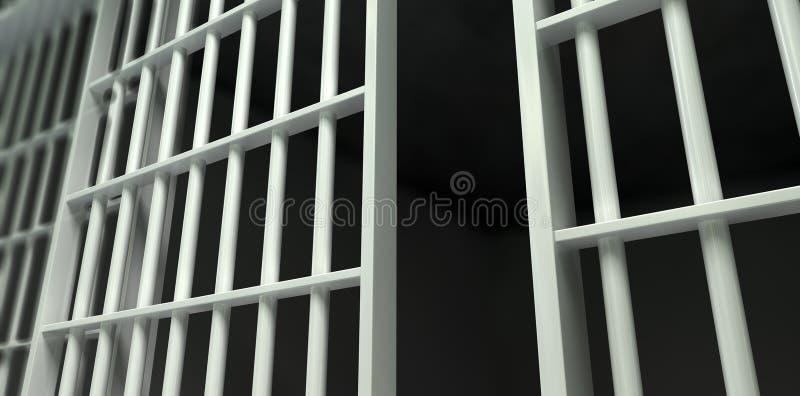 Perspectiva blanca de la celda de prisión de la barra desbloqueada fotografía de archivo