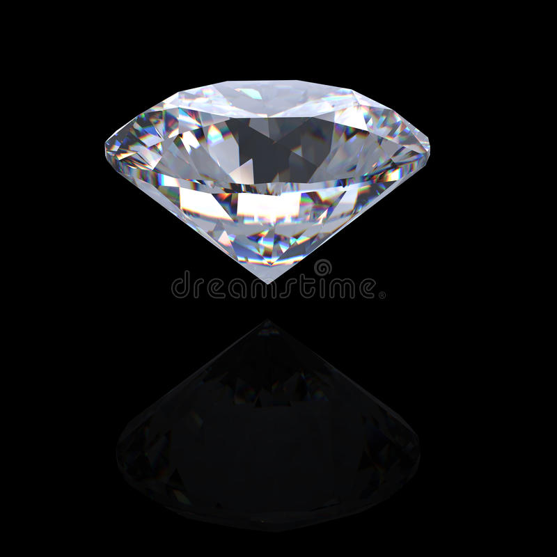 perspectiva brilhante do diamante do corte 3d ilustração stock