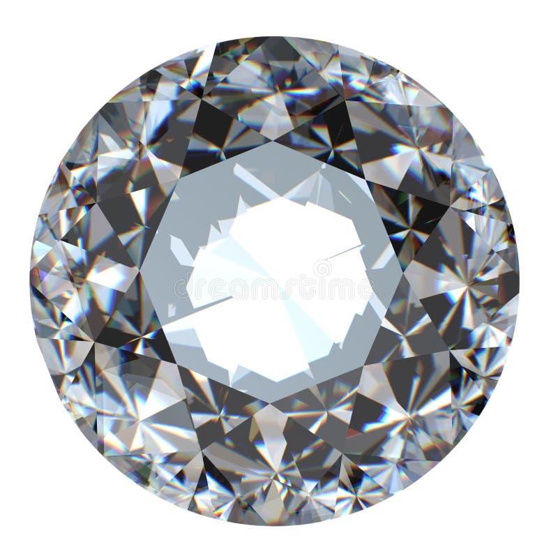 Perspectiva brilhante redonda do diamante do corte isolada ilustração royalty free