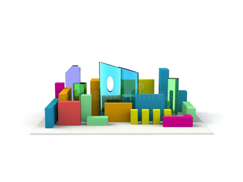 Perspectiva céntrica de la miniatura modelo arquitectónica 3D stock de ilustración