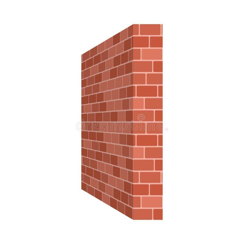 Perspectiva da parede de tijolo isolada no fundo branco Illu do vetor ilustração stock