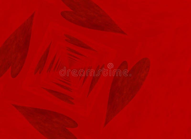 Perspectiva de desaparición del punto de los fondos rojos del corazón stock de ilustración