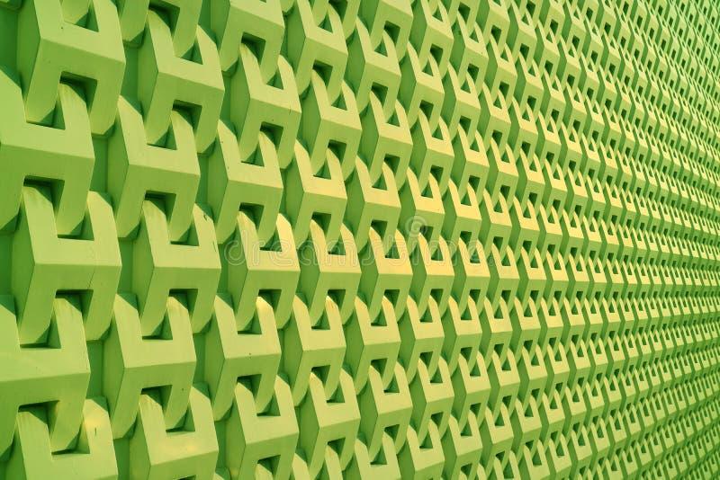 Perspectiva de disminución verde de neón del modelo de la superficie de la pared fotos de archivo libres de regalías