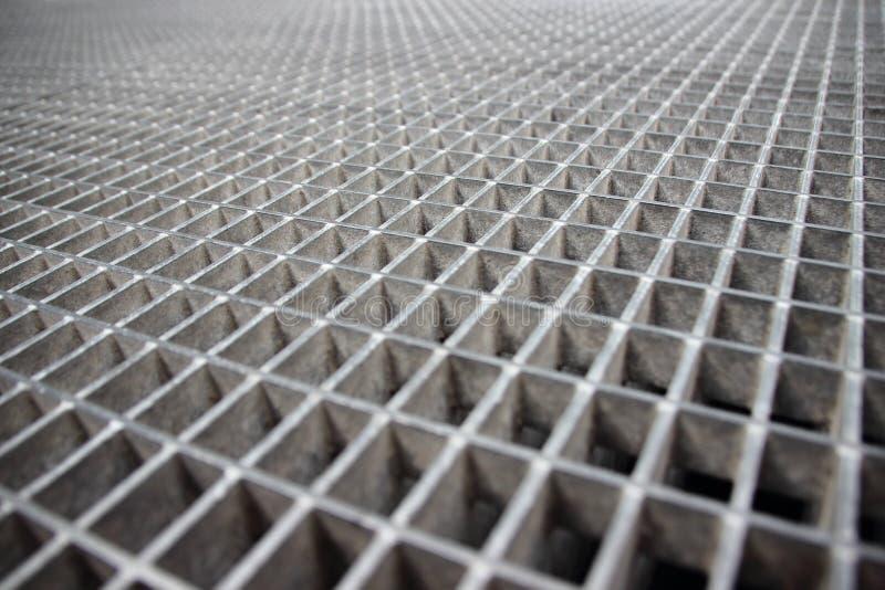 Perspectiva de Grey Galvanized Steel Grate Grid foto de stock