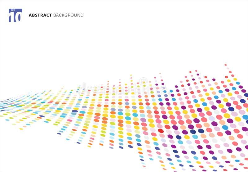 Perspectiva de semitono colorida abstracta del modelo de puntos de la onda de la textura stock de ilustración