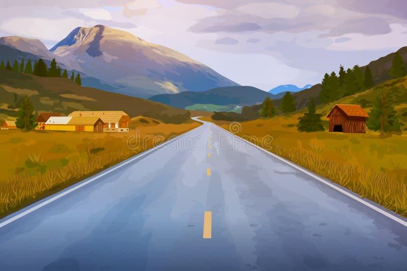 Perspectiva del camino ilustración del vector