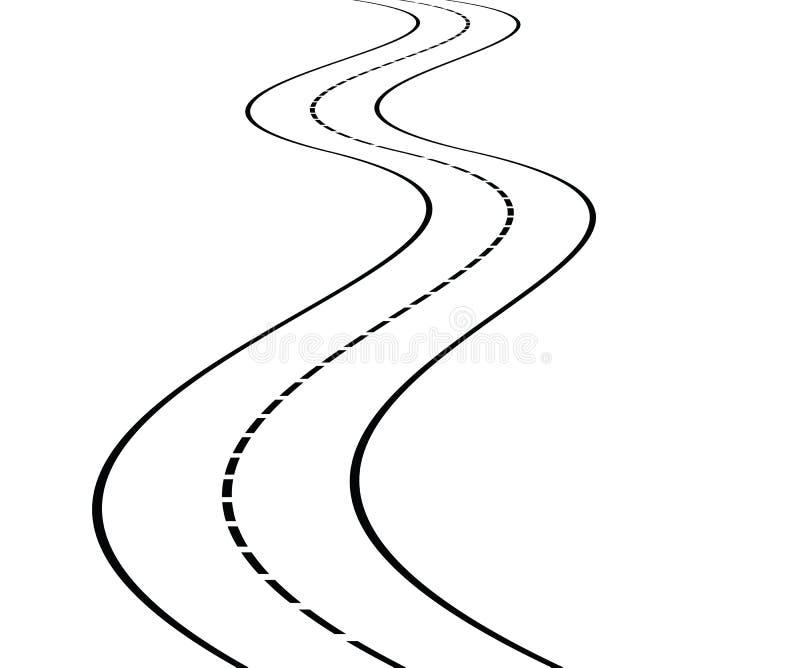 Perspectiva del camino curvado stock de ilustración