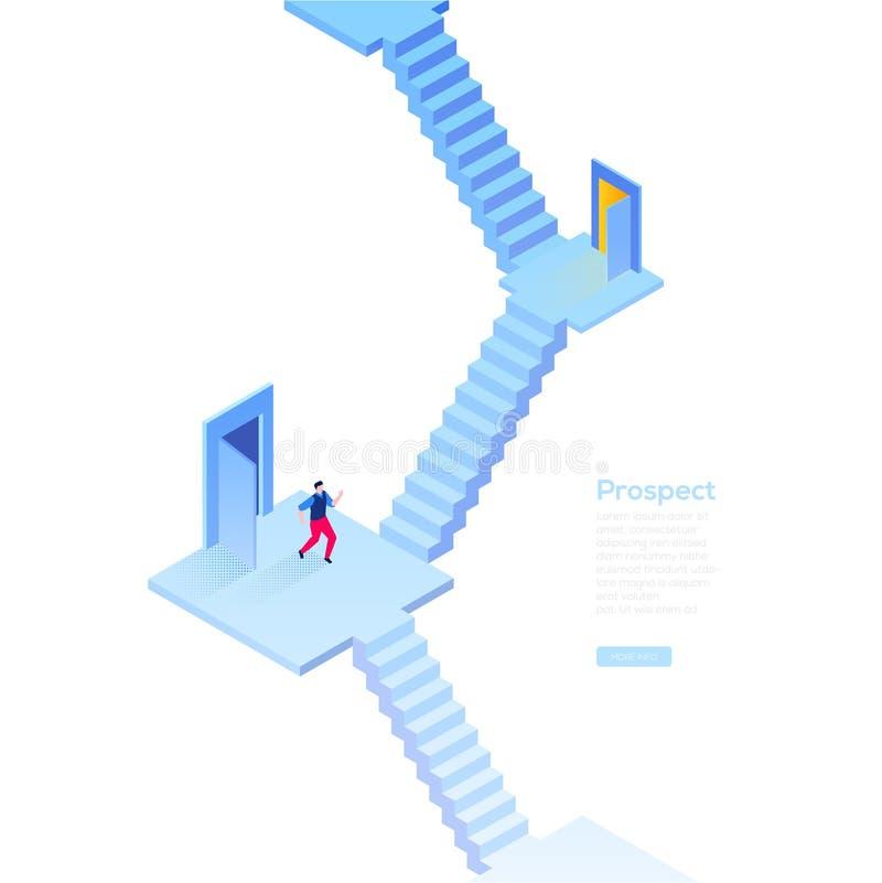 Perspectiva del negocio - bandera isométrica moderna del web del vector stock de ilustración