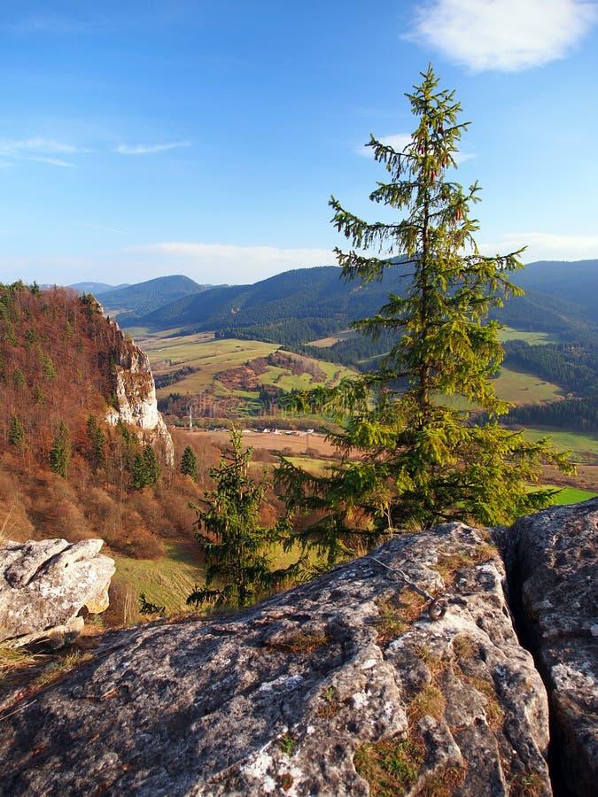 Perspectiva del otoño de Vysnokubinske Skalky foto de archivo libre de regalías