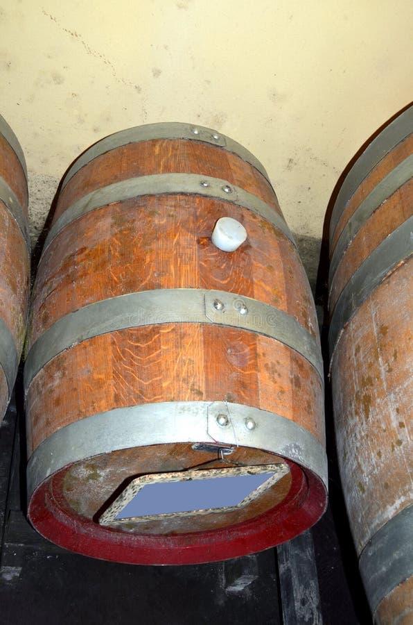 Perspectiva do fundo dentro de um winecellar fotografia de stock