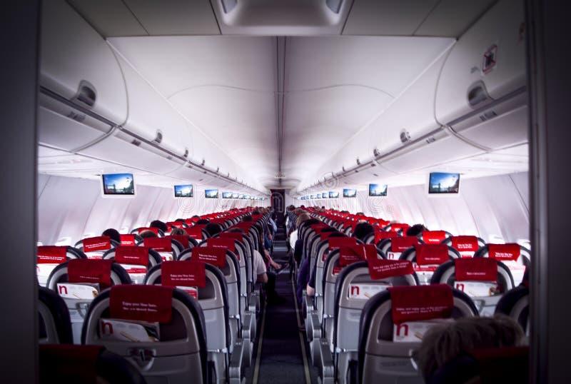 Perspectiva do interior de um avião imagem de stock