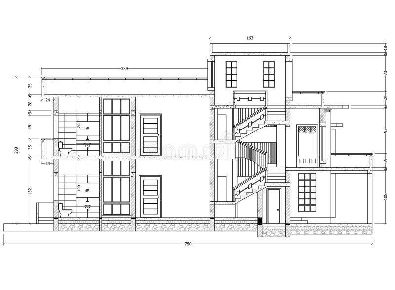 Perspectiva do modelo da casa ilustração do vetor