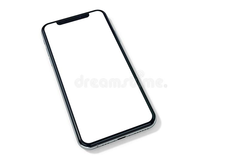 Perspectiva do modelo da prata de IPhone Xs no branco fotos de stock royalty free