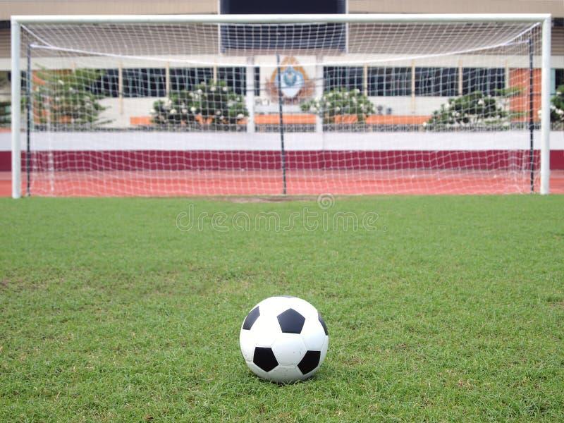 Perspectiva do ponto da penalidade do futebol fotografia de stock royalty free