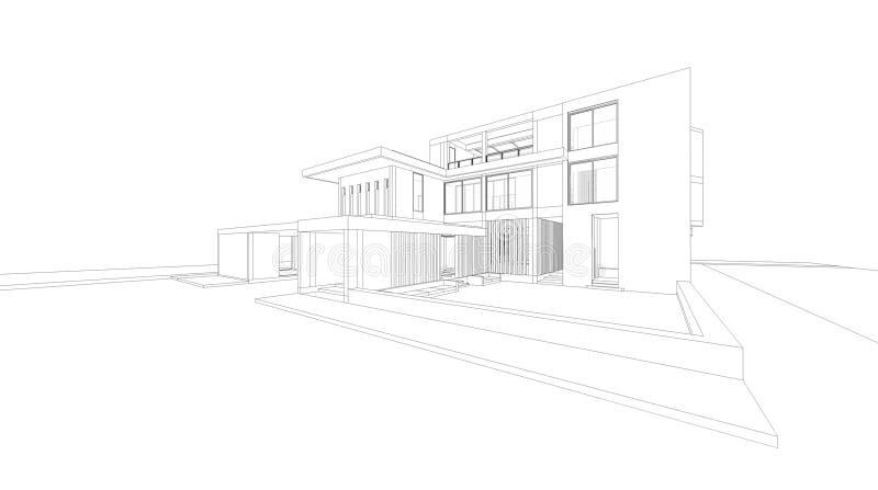 a perspectiva do wireframe 3D rende da casa ilustração royalty free