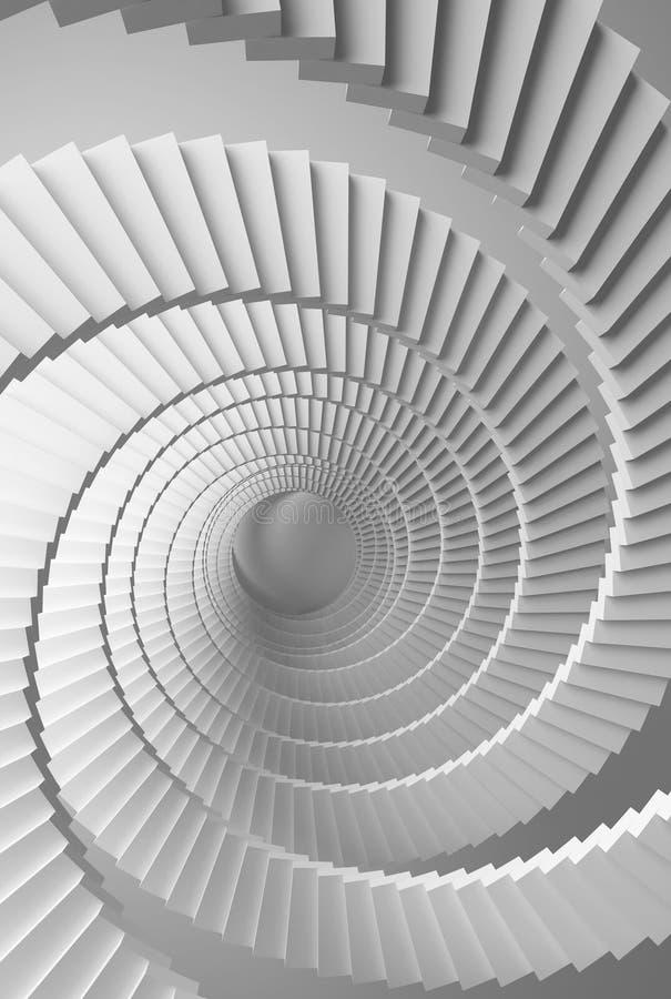perspectiva espiral blanca de las escaleras