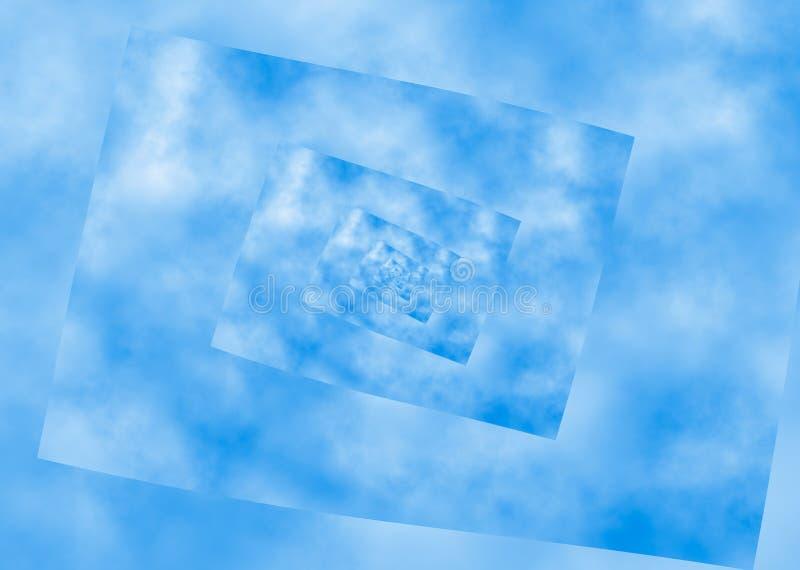 Perspectiva espiral ondulada do céu azul. teste padrão da distorção ilustração royalty free