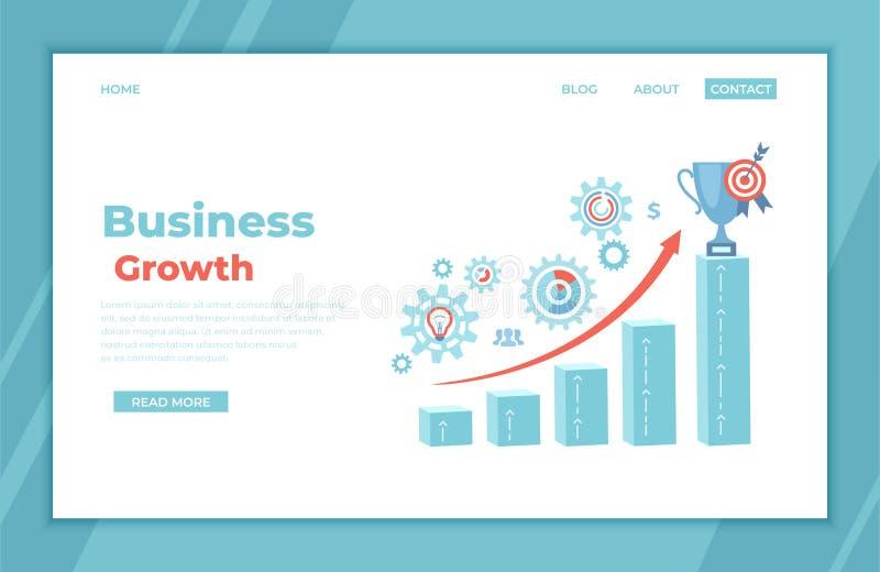 Perspectiva financiera del márketing de la gestión de funcionamiento del planeamiento del éxito del crecimiento del negocio Pasos ilustración del vector