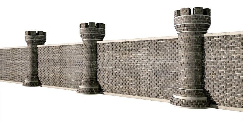 Perspectiva gótico da parede do castelo imagem de stock