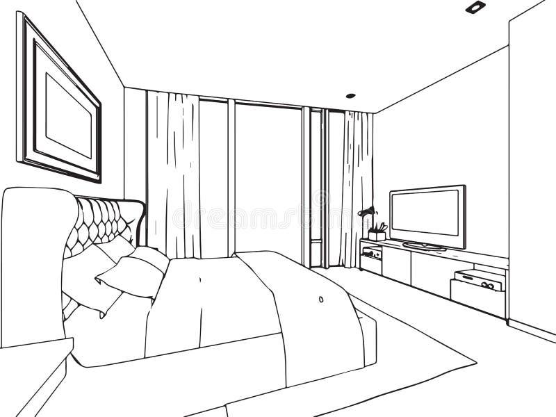 Perspectiva interior del dibujo de bosquejo del esquema de for 3d raum zeichnen