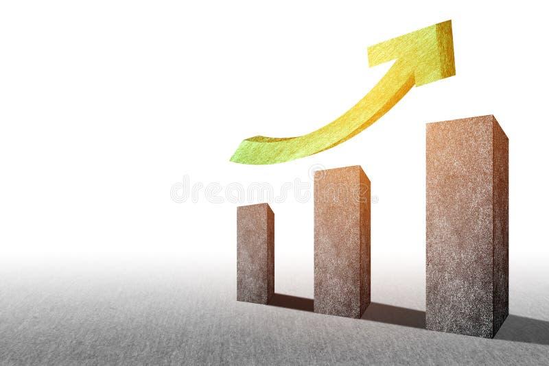 Perspectiva realista que sube encima de carta de barra Gr?fico de la tendencia para el informe financiero y de la econom?a M?rket imagenes de archivo