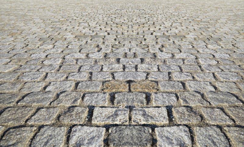 Perspectiva Visão Monotone Gray Brick Stone Pavement no Ground for Street Road Calçada, Via, Pistas, Pavimento foto de stock