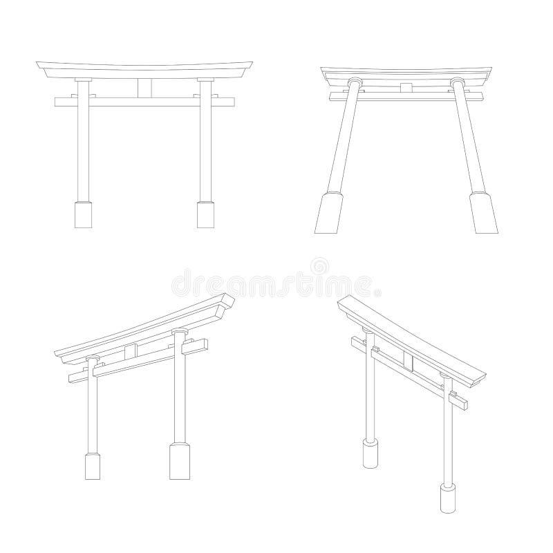 Perspectiva y visión isométrica, ejemplo Editable de Torii del japonés del movimiento ilustración del vector