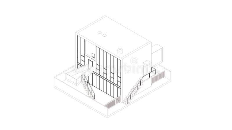 Perspective abstraite de wireframe du bâtiment 3D illustration libre de droits