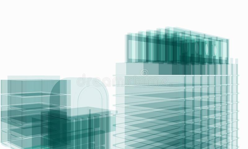 Perspective of architectural work of draw in white soft environment stock photography