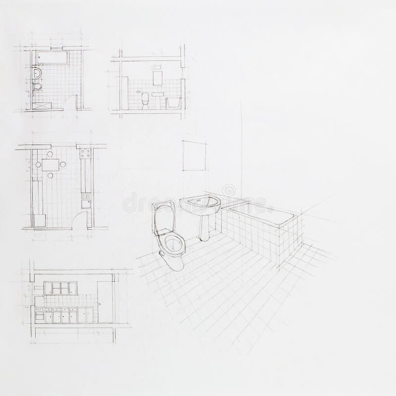 Perspective architecturale d'une salle de bains illustration de vecteur