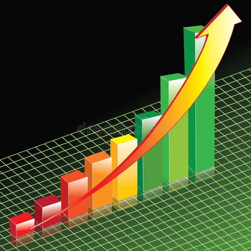 Perspective Bar Graph. This illustration is of a positive sales Bar Graph on an interesting background vector illustration