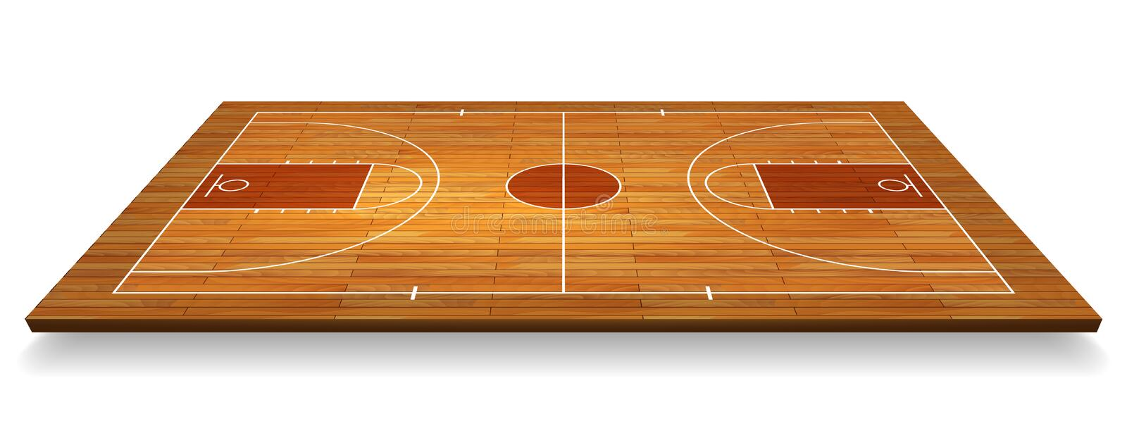 Perspective Basketball court floor with line on wood texture background. Vector illustration royalty free illustration