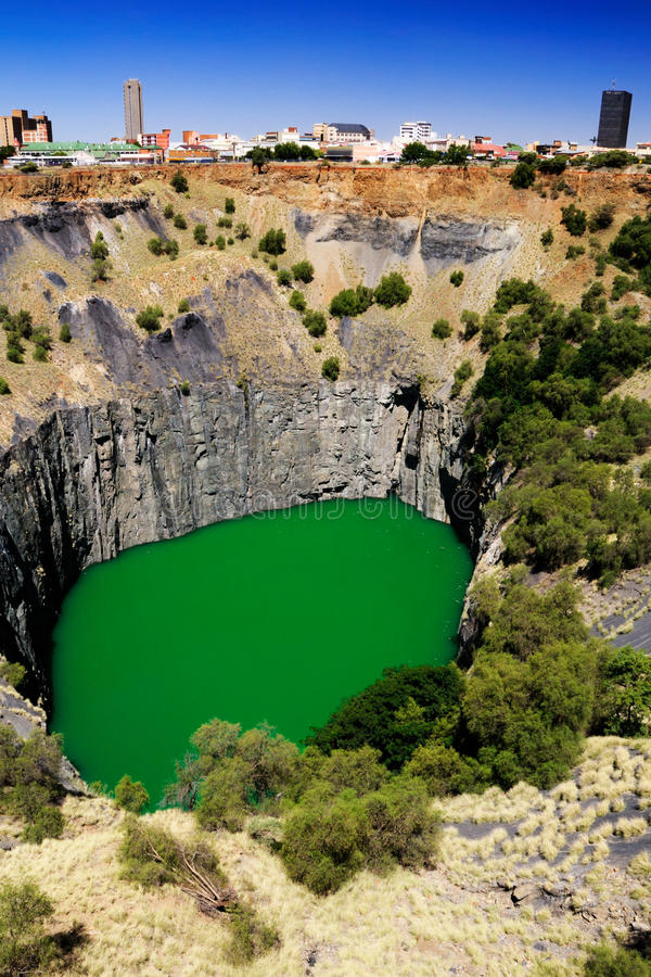 Perspective of the Big Hole in Kimberley. Perspective view of the Big Hole in Kimberley at the De Beers diamond museum royalty free stock image
