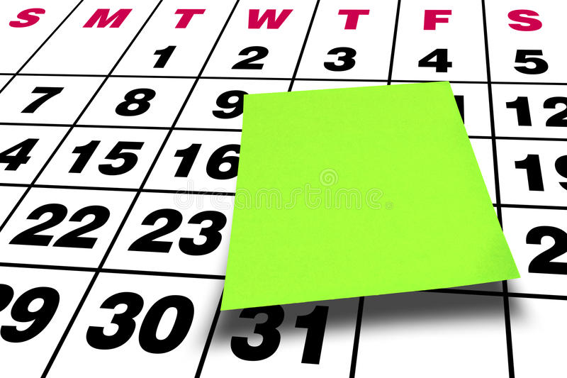 Perspective Blank Green Postit Post-it Calendar stock photography