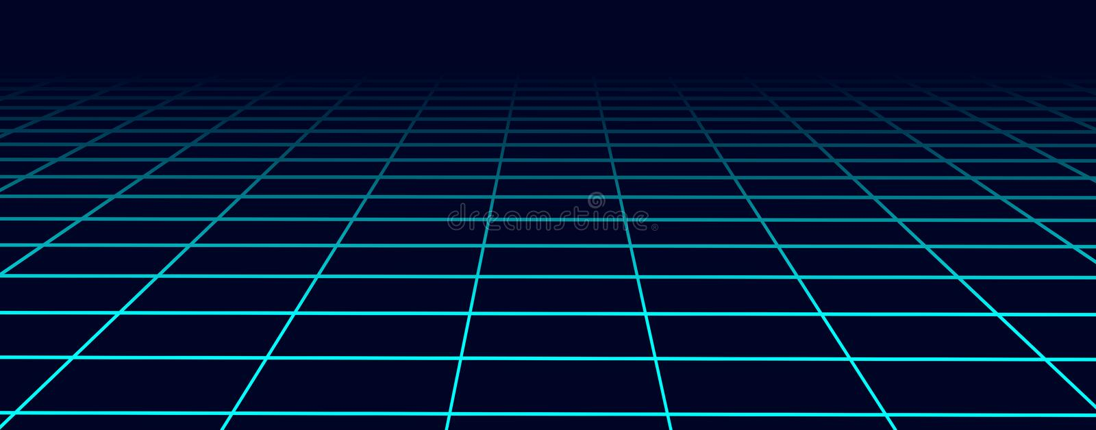 Perspective blue grid background. Abstract futuristic grid 1980s style. Vector illustration royalty free illustration