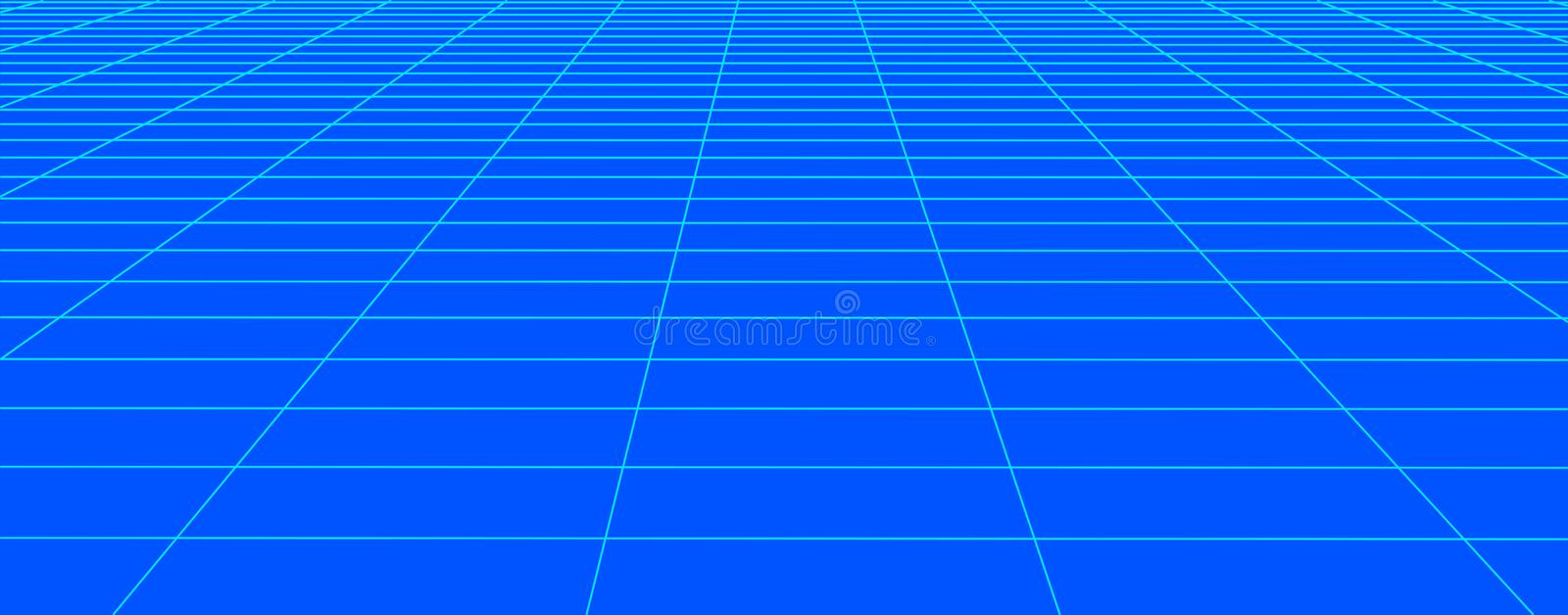 Perspective blue grid background. Abstract vector wireframe landscape. Abstract mesh background. Vector illustration stock illustration