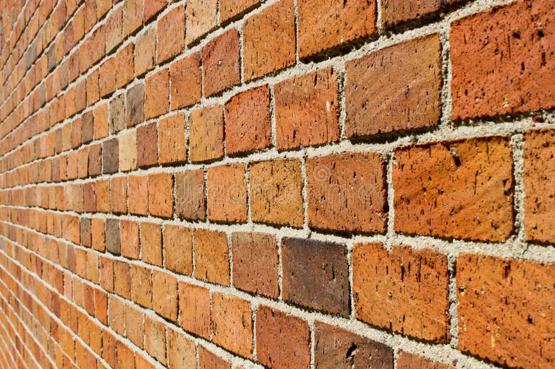Perspective of a brick wall stock images