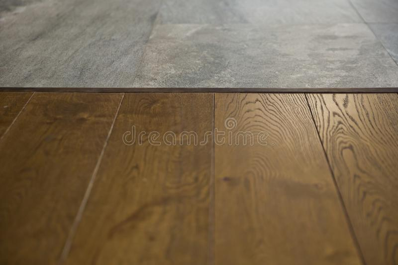 Perspective brown wood over blur in coffee shop - can be used for display or montage your products.Mock up for display of product royalty free stock photos
