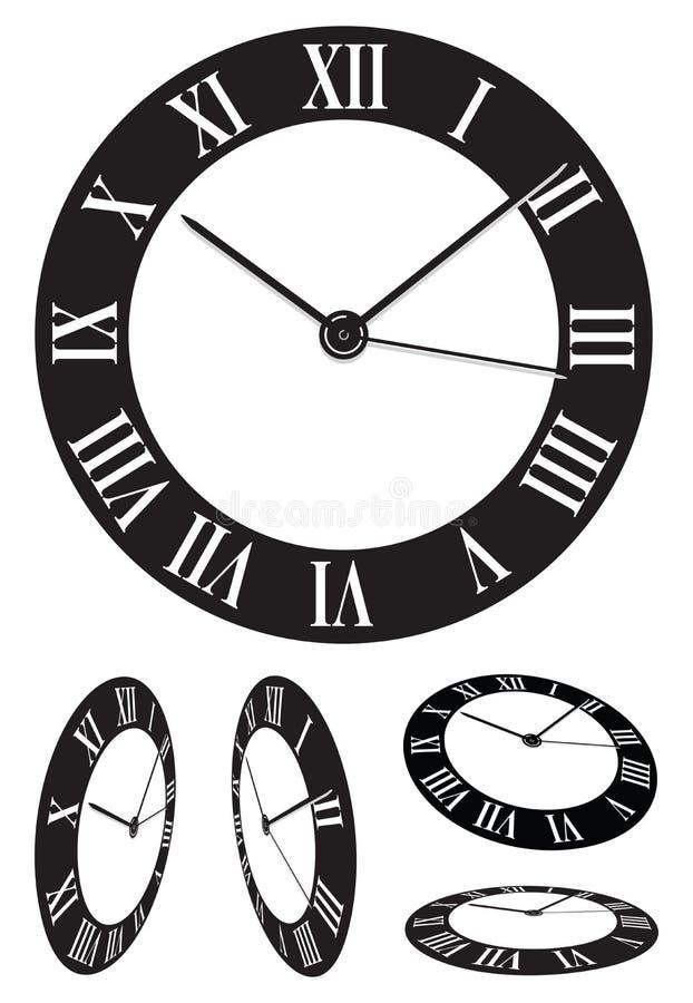 Perspective clock vector illustration