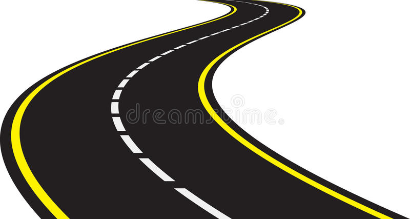 Perspective of curved road stock vector. Illustration of ...