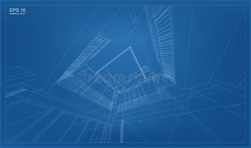 Perspective 3D render of building wireframe. stock illustration