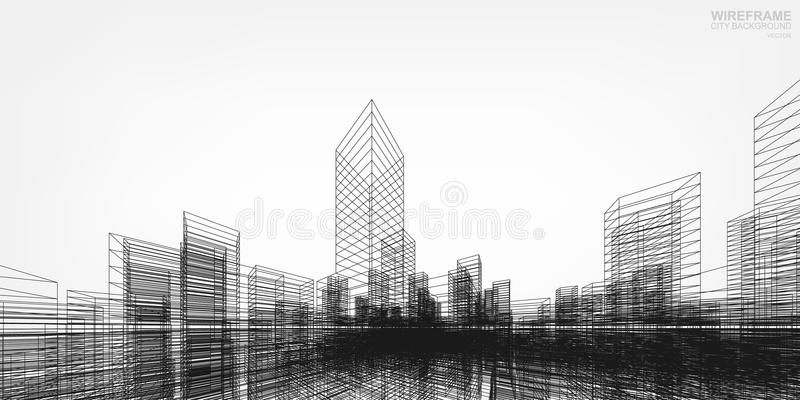 Perspective 3D render of building wireframe. Vector. stock illustration