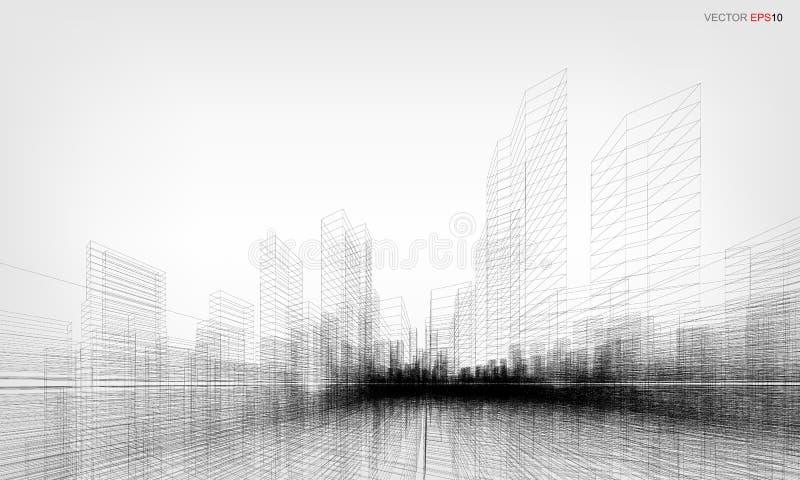 Perspective 3D render of building wireframe. Vector illustration. stock illustration