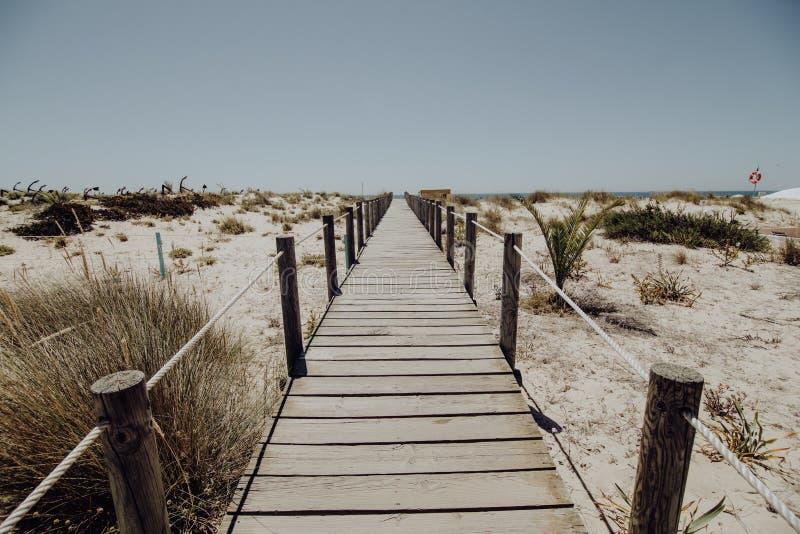 Perspective de passage couvert en bois le long de la plage le jour ensoleillé d'été dans Algarve, Portugal le long de la côte photographie stock