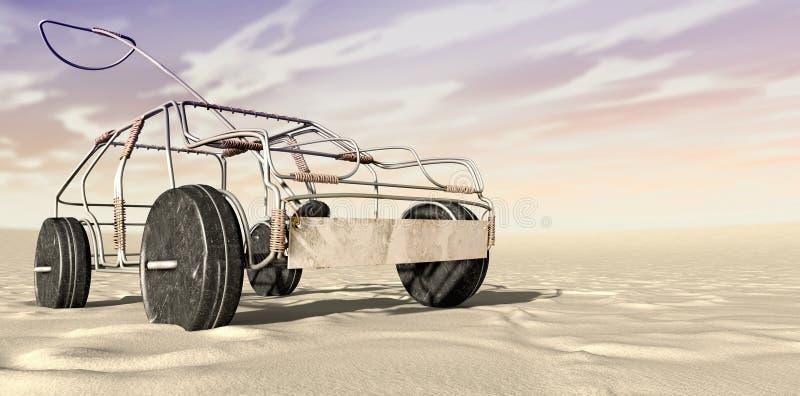 Perspective de Toy Car In The Desert de fil illustration de vecteur