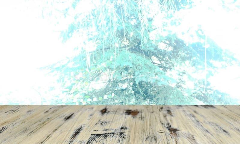 Perspective en bois de table et bokeh vert de feuille brouillés pour naturel photo libre de droits