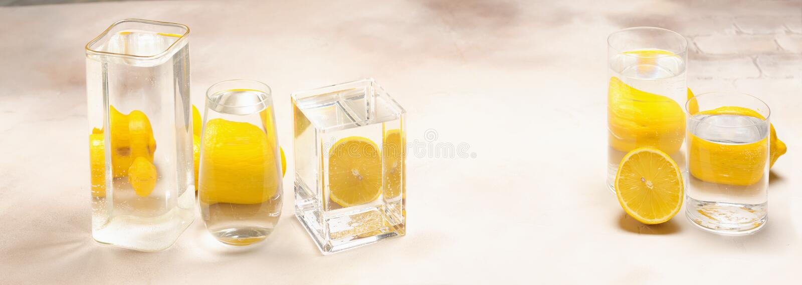Foods distorted through liquid and glass on light background. Perspective, fractured and skewed images of common foods as seen through vessels filled with water stock photos