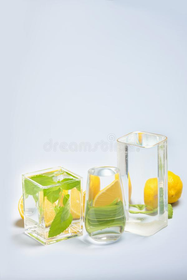 Foods distorted through liquid and glass on blue background. Perspective, fractured and skewed images of common foods as seen through vessels filled with water royalty free stock photography
