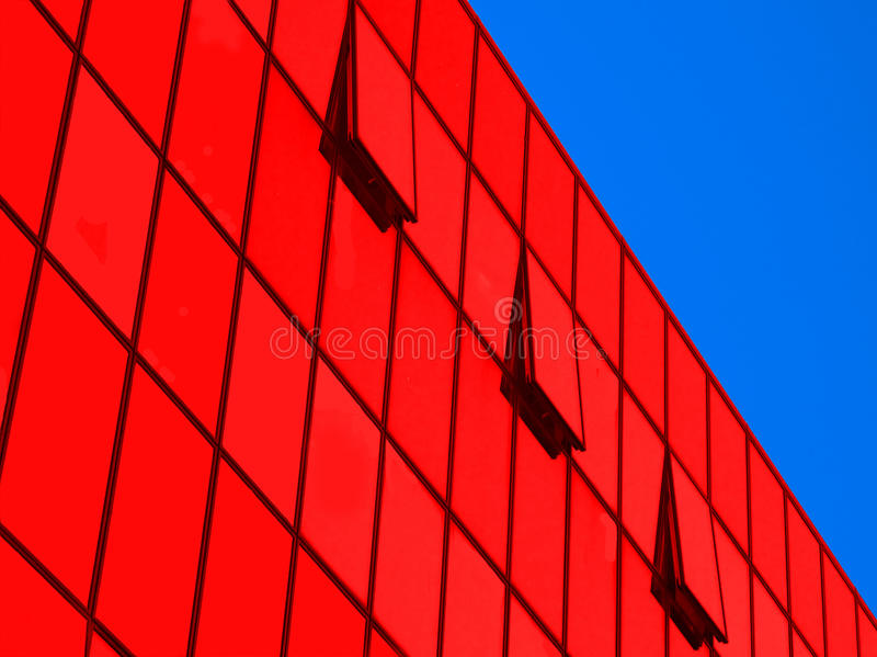Perspective of glass wall modern industrial buildi stock photos