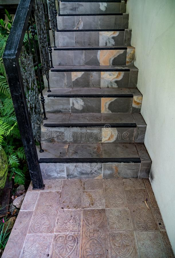 Gray Tile Staircase. Perspective of gray tiles staircase royalty free stock photos